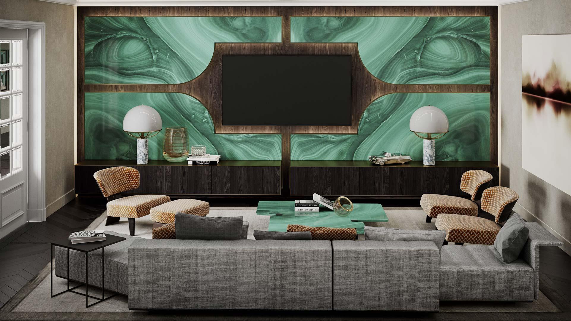 Sala TV con parete retroilluminata