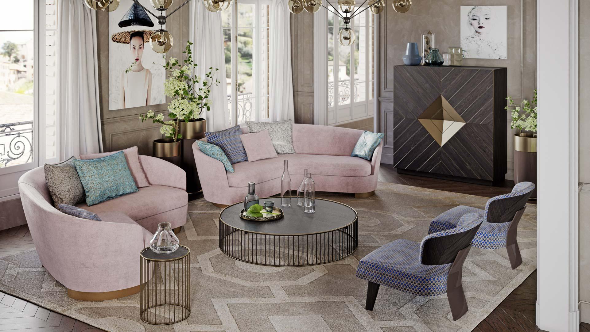 Living con divani creati su misura